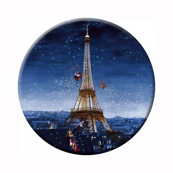Compact Mirrors, Pocket Mirrors, Eiffel Tower Has a velvety texture to the touch. Size: 88mm diameter Comes with Black Velvet Pouch for safe keeping and transporting All pocket mirrors are dreamt, designed and made in France.
