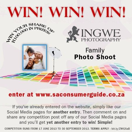 Win a Family Photo Shoot from Ingwe Photography - enter online at www.saconsumerguide.co.za and like and share this post. The more you share on Social Media the more entries you earn.