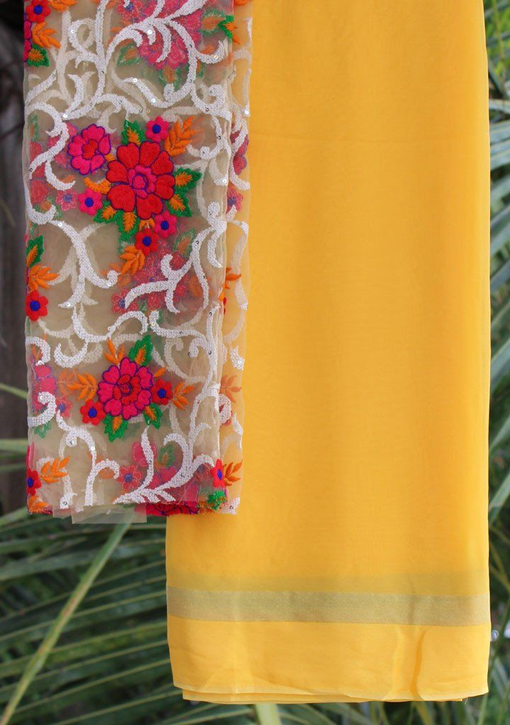 Yellow saree with embroidered blouse piece