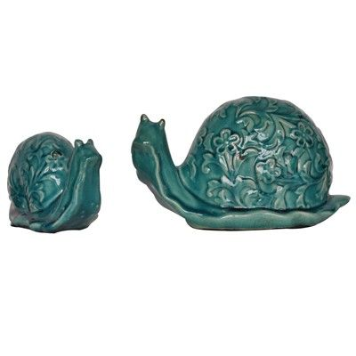 Teal Escargot Statues from the Crestview Collection