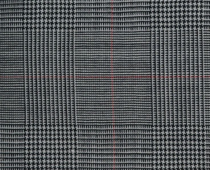 Grey Prince of Wales Check All Wool Italian Suiting Fabric ...
