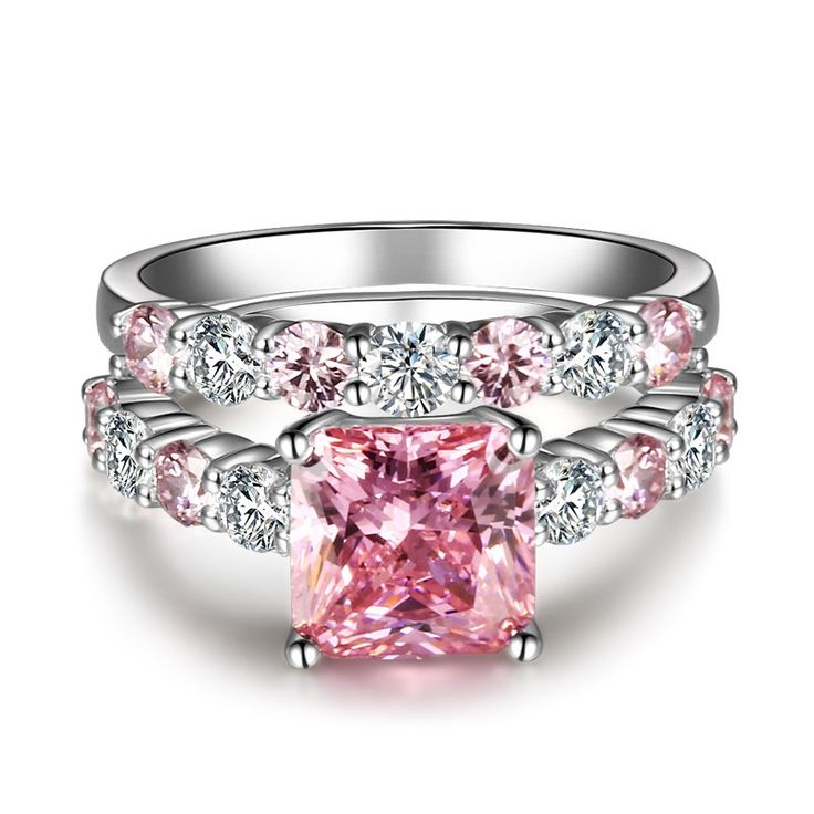 Women's Princess Cut Lab-created Pink Diamond Wedding Ring Set with Sterling Silver