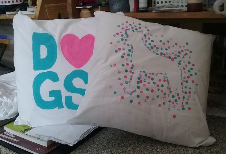 Cushions! Handpainted for a dog-loving friend who likes turquoise