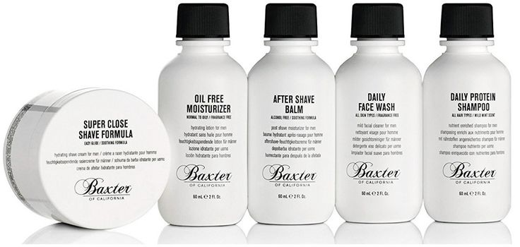 Baxter Travel Size Skin Care Kit for Men includes shaving cream, face moisturizer, after shave balm, face wash and protein shampoo