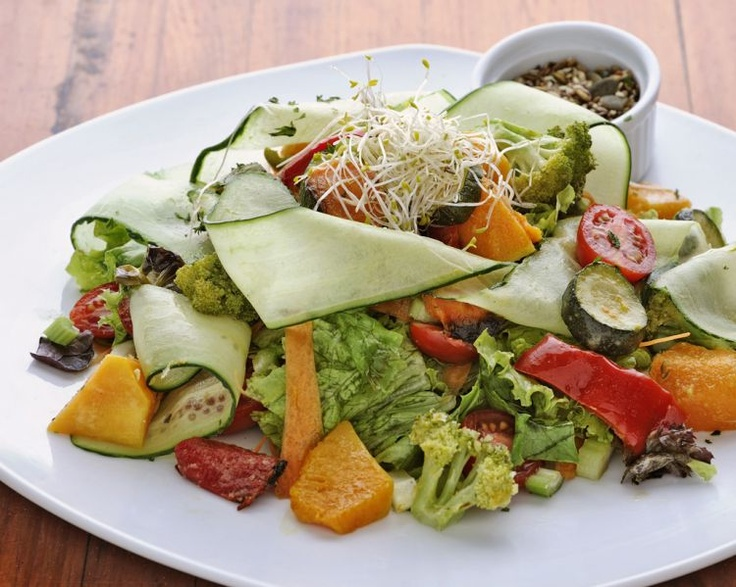 Fresh, colourful roast vegetable salad