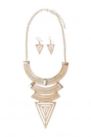 Suzanne Statement Necklace and Earrings Set in Gold