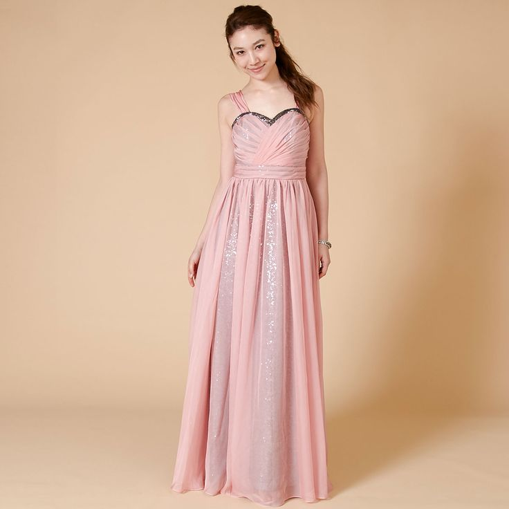 スパンコールとシフォンのレイヤード・ブライズメイドドレス。#Bridesmaid#ブライズメイド#DRESSPEOPLE#ドレスピープル#pink