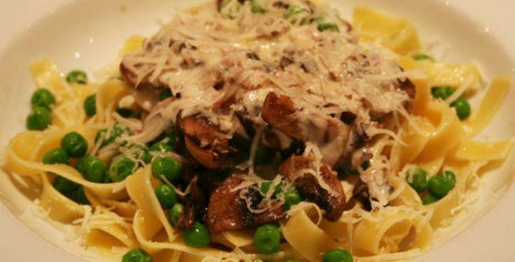 Saus til pasta med sopp og erter