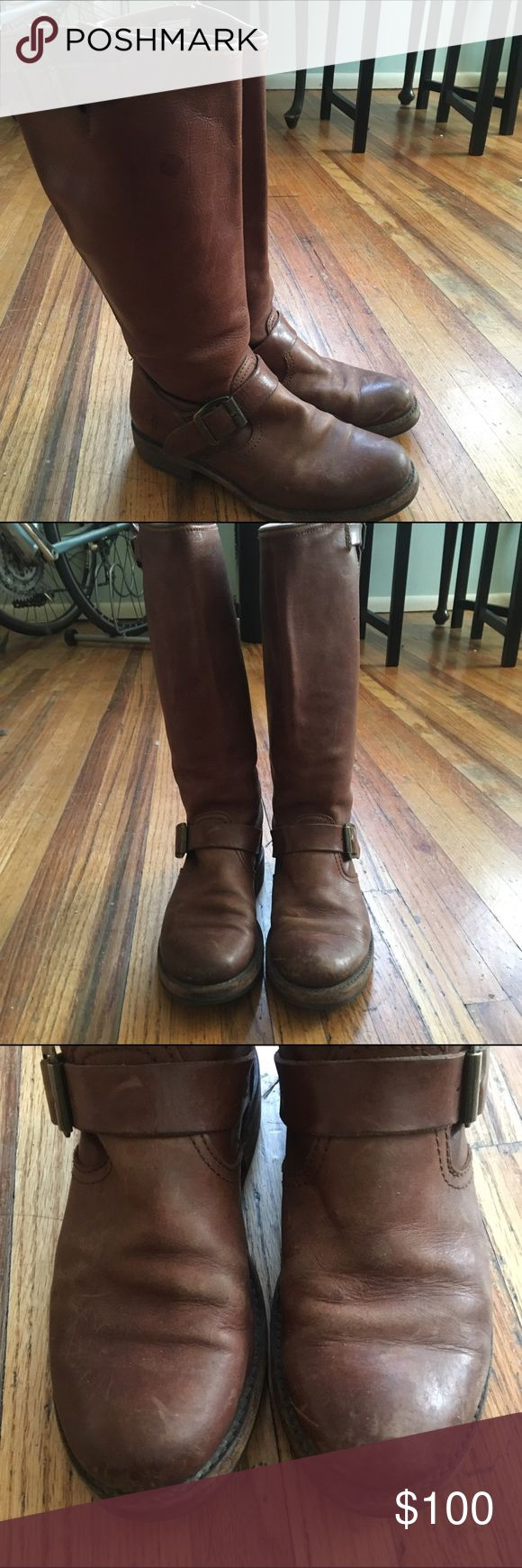 Frye Riding Boots Gorgeous Frye boots in reddish brown with some visible wear. The leather is scuffed in some places but the sole is good, and the leather would clean up with some polishing. They definitely have a vintage look to them, but should last forever with proper care. Frye Shoes