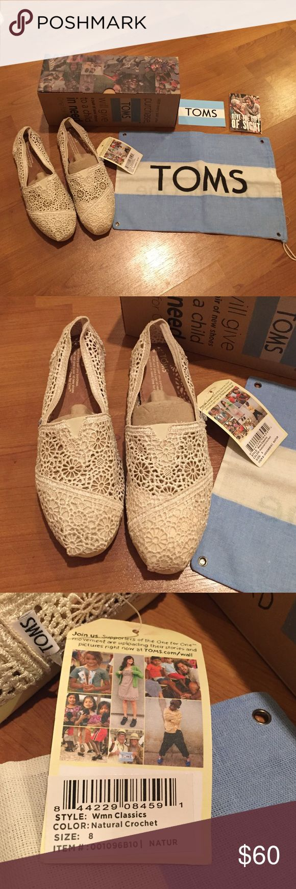 NEW! TOMS Crochet Size 8 NWT TOMS Crochet Shoes. Never wore them. They're half a size too big for me. They are in brand new condition with tags attached.  No trades, please  Price firm. TOMS Shoes Flats & Loafers