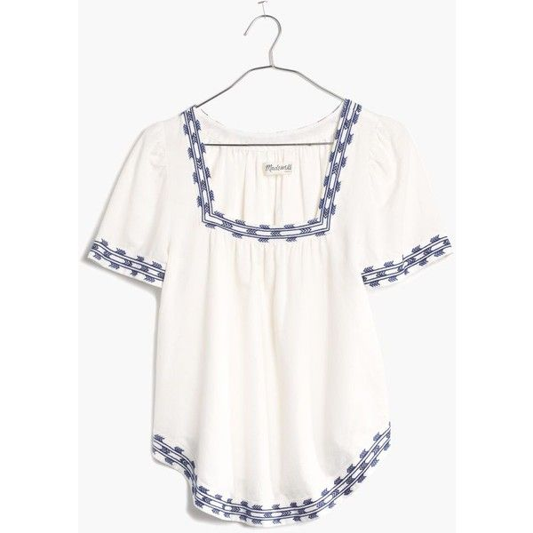 MADEWELL Arrowstitch Peasant Top (£32) ❤ liked on Polyvore featuring tops, pure white, white embroidered top, peasant tops, square neck top, white peasant top and white tops