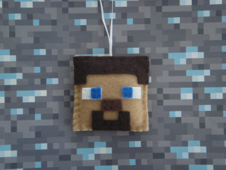 Handmade Minecraft felt craft:  ornament/decoration/party favour/necklace inspiration