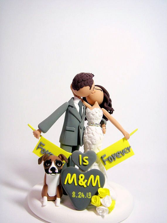 Romantic- Customized wedding cake topper with the dog