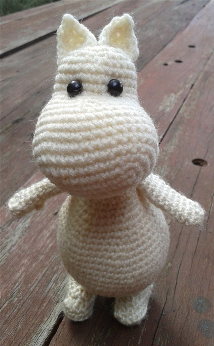 Moomintroll (Moomin). Project notes and pattern info here; http://www.ravelry.com/projects/LindaDavie/amigurumi-moomin