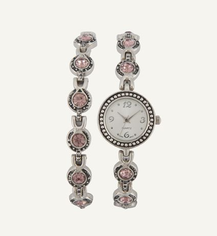 Bracelet & Watch Set: Marcasite & Stone   Woolworths.co.za