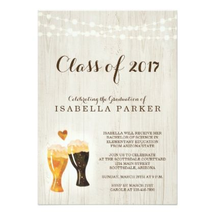 Brewery Graduation Party Invitation | Rustic Beer - graduation gifts giftideas idea party celebration