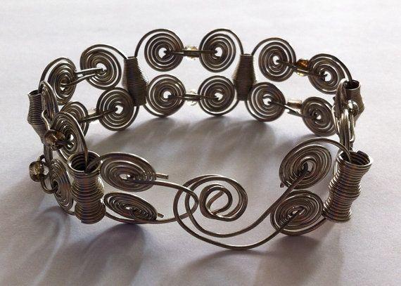 Spiral motifs wire BraceletSilver craft wire by bonmokishop