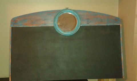Nautical Theme Chalkboard created from repurposed shelving.  Painted in turquoise with a barn wood glaze.  Great for boys room or cottage.