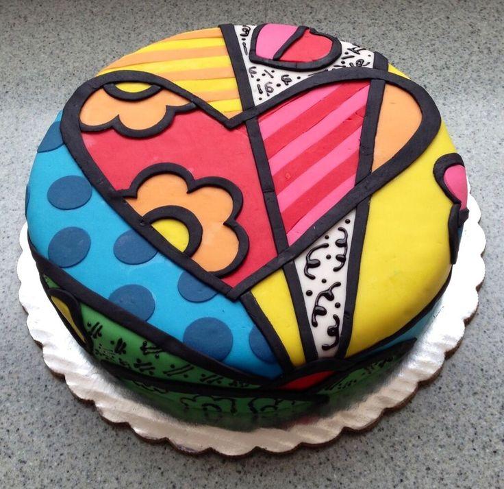 #HLo-Tips: Pastel con cobertura de fondant estilo de Romero Britto, para un cumpleaños queda bien ese concepto.
