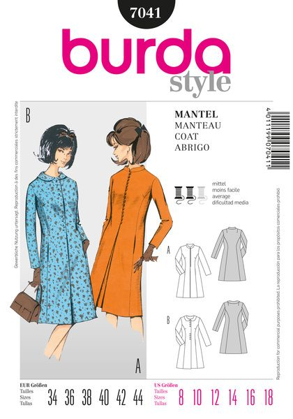 Chic and trendy coat dress with Peter Pan collar or small standing collar. The slightly flared silhouette with section seams gently envelopes the figure and emphasizes the feminine look.