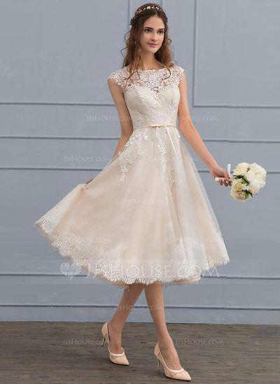 Vestidos princesa/ Formato A Decote redondo Coquetel Tule Renda Vestido de noiva com Curvado