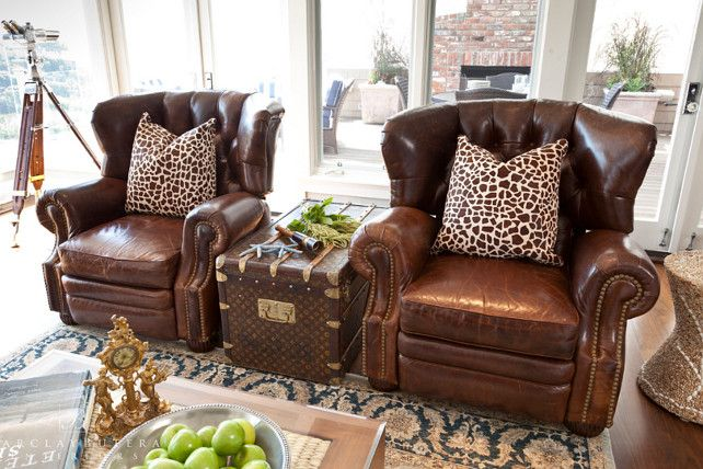 Leather Club Chairs. Leather Club Chairs. Louis Vuitton Trunk Flanked by Leather Chairs. #LeatherChairs #LouisVuitton Barclay Butera Interiors.