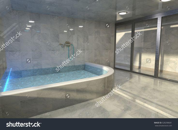 3d Render Of Luxury Minimalist Bathroom Interior Design Stock Photo 528298681 : Shutterstock