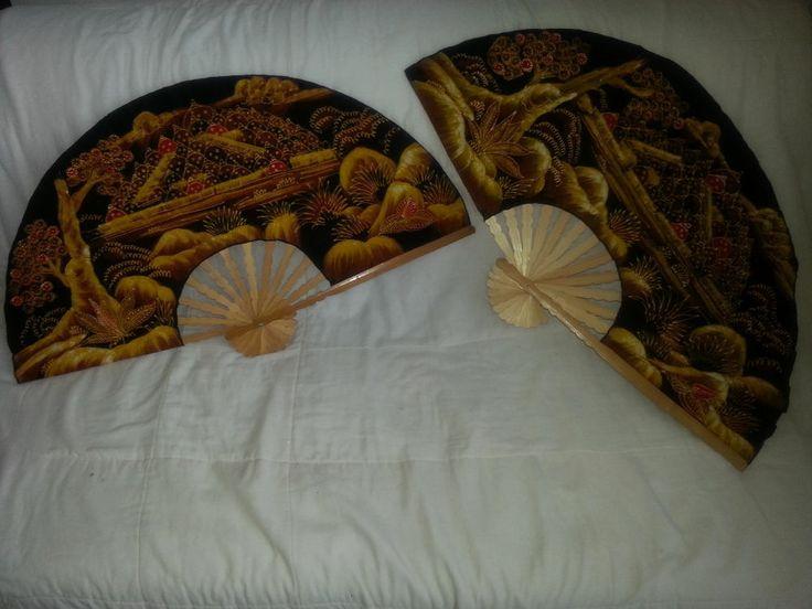LOT of 2 Asian Batik & Bamboo Wall Art Hand Painted Fan