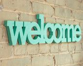 welcome sign made from recycled wood 24 inches