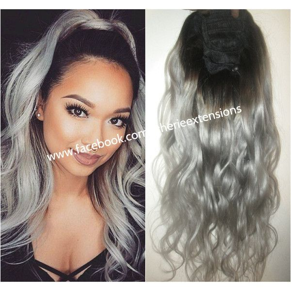 Best 25 grey hair extensions ideas on pinterest black to silver cherie 8a remy human hair drawstring ponytail hair extension ombre dip 100 pmusecretfo Images
