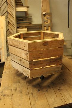 Pallet Wood Crate Box on Swivel Casters by Adams & August - eclectic - toy storage - Etsy