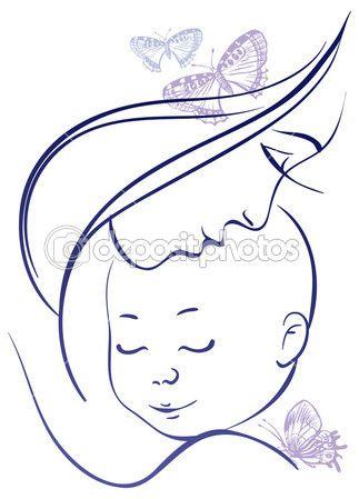 Mãe e bebê — Ilustração de Stock #10565509