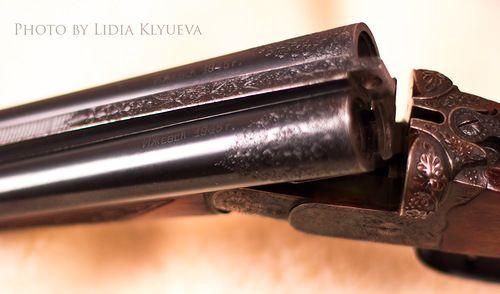 """ствол . Уникальное ижевское ружье 1945 года. Вид казенной части стволов. Фокус на надписи """"ИЖЕВСК 1945 г.""""http://alexey-klyuev.livejournal.com/7754.html"""