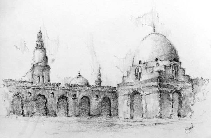 Interior of Ibn tulun mosque, Old Cairo, Egypt. Pencil drawing using (HB-2B-3B-4B-6B)  Copyright © 2015 [Hossam el yamani]. All Rights Reserved.