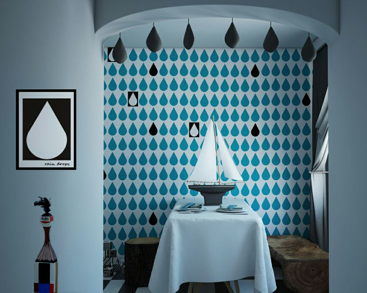 turkus drops, wallpaper by Humpty Dumpty Room Decoration, HDRD, interior design by Fajnodesign.by