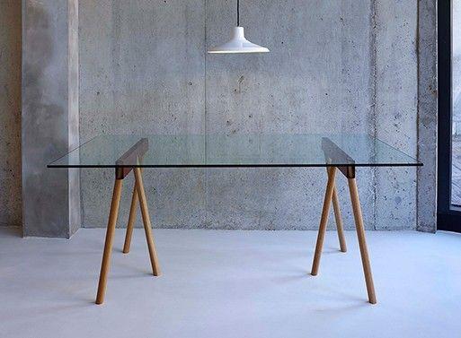 parsonsees via crosscut trestle legs u2014 deskwork u2014 better living through design