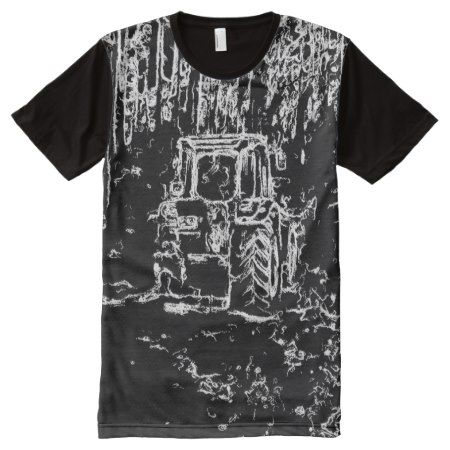 drawing tractor and nature All-Over-Print shirt - tap, personalize, buy right now!