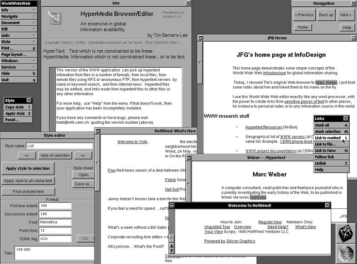 WorldWideWeb was the world's first web browser and WYSIWYG (What you see is what you get) HTML editor. It was introduced on February 26, 1991, by Tim Berners-Lee, and ran on the NeXTSTEP platform.