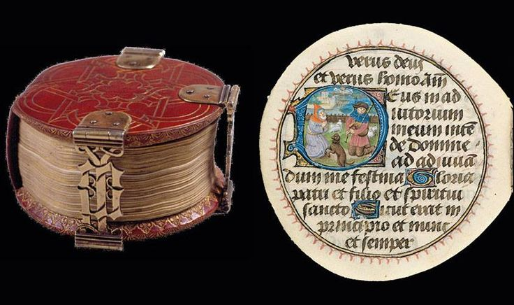 """The """"Codex Rotundus"""" owes its name to its round shape. It is a small book of hours (9 cm diameter) made in Bruges in 1480 AD. Thumbnails are most likely from the workshop of Dutchman Willem Date illuminator (active from 1450 to 1482). (Hildesheim Cathedral Library, Germany)"""