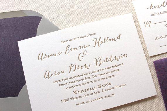 The Wildflower Suite - Modern Letterpress Wedding Invitation Suite, Purple, Gold, Grey, Liner, Calligraphy, Script, Rustic, Simple, Classic