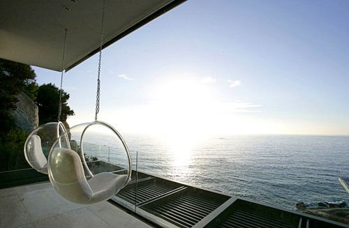 outdoor chairs; great view; so peaceful.: Chair Odyssey, Beach House, Beautiful Spaces, Holy Chairs, Dream House, Clear Chairs, Furniture, House Decor