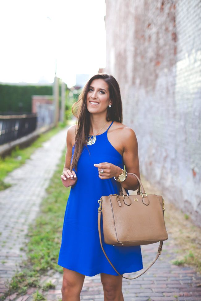 blue shift dress, high neck shift dress, casual style, summer outfit, summer style, monogram necklace, nordstrom anniversary sale…