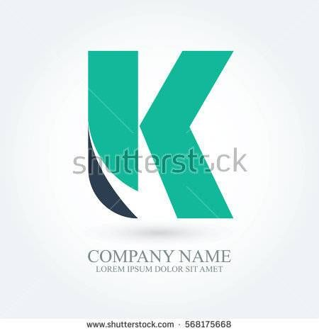 initial letter k creative circle logo typography design for brand and company identity. green and dark blue color