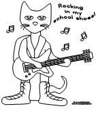 Pete the Cat coloring page available at www