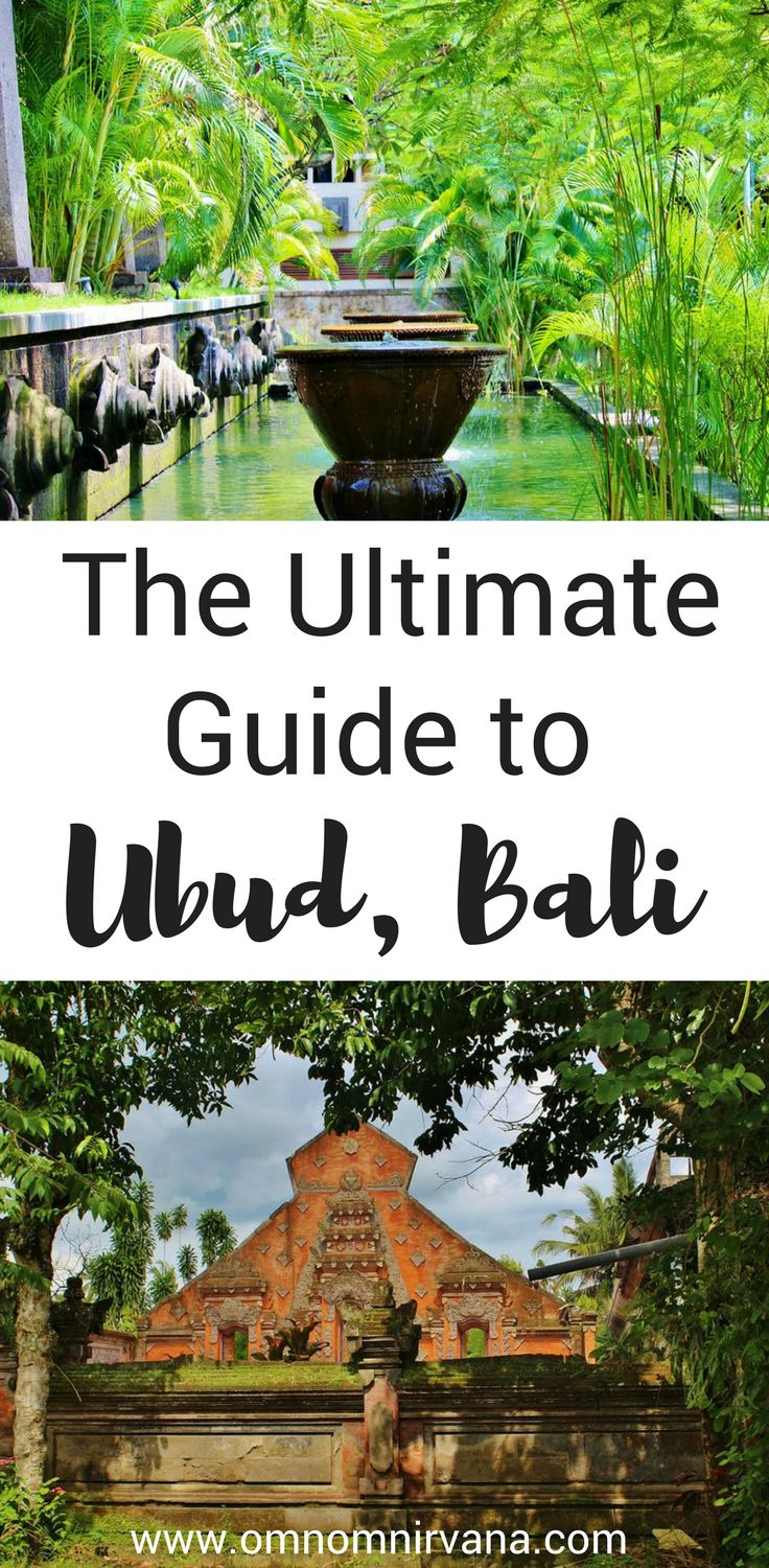 Exploring Ubud is tons of fun. Check out this Ubud guide to help you see all the main attractions while you're in the area. This guide includes where to eat in Ubud, transportation in Ubud, things to see and do in Ubud, volcano hikes in Ubud, and much more. You'll definitely want to check this guide to Ubud before your next trip and save it to your travel board to help you plan your trip.
