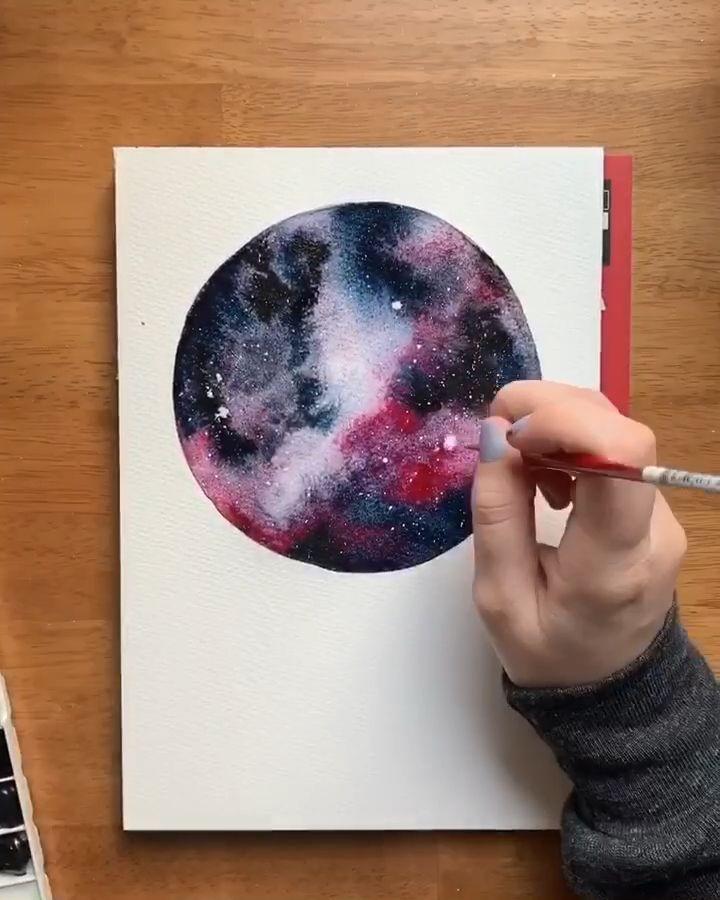 Dazzling watercolor galaxy 🌌 – #art #Dazzling #…