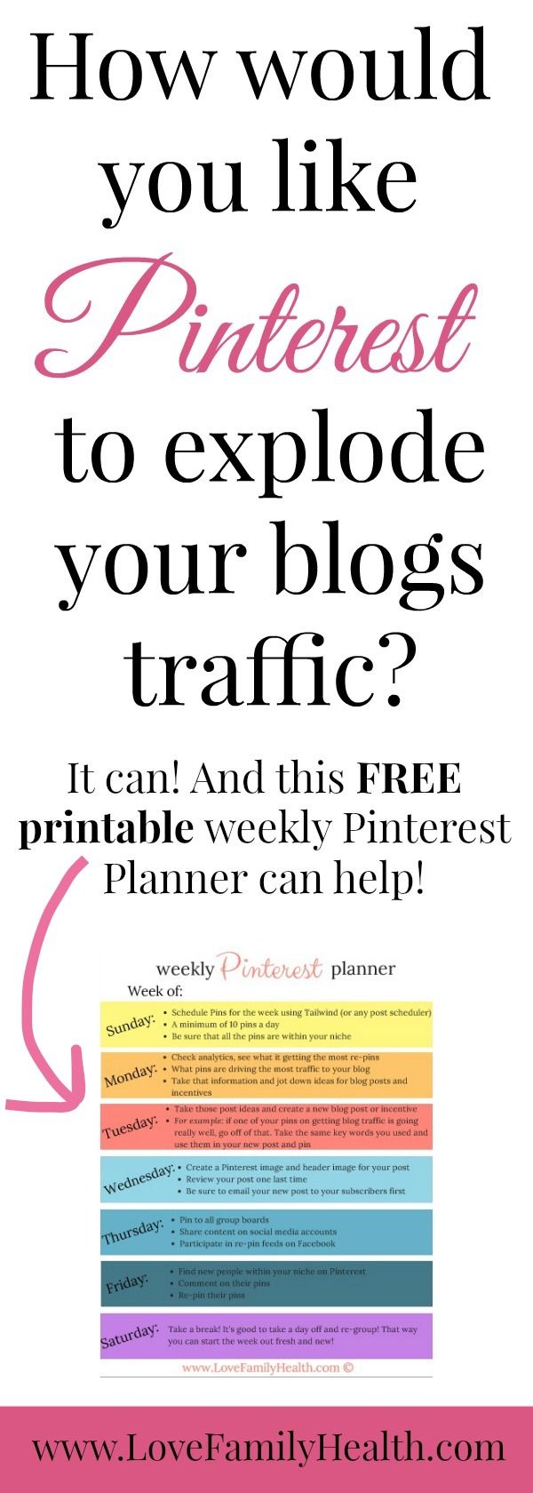 EXPLODE your blogs traffic with your FREE PRINTABLE weekly Pinterest Planner!