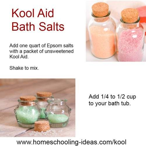 Kids Kool Aid Crafts - baths salts recipe for a 'kool' kids activity.