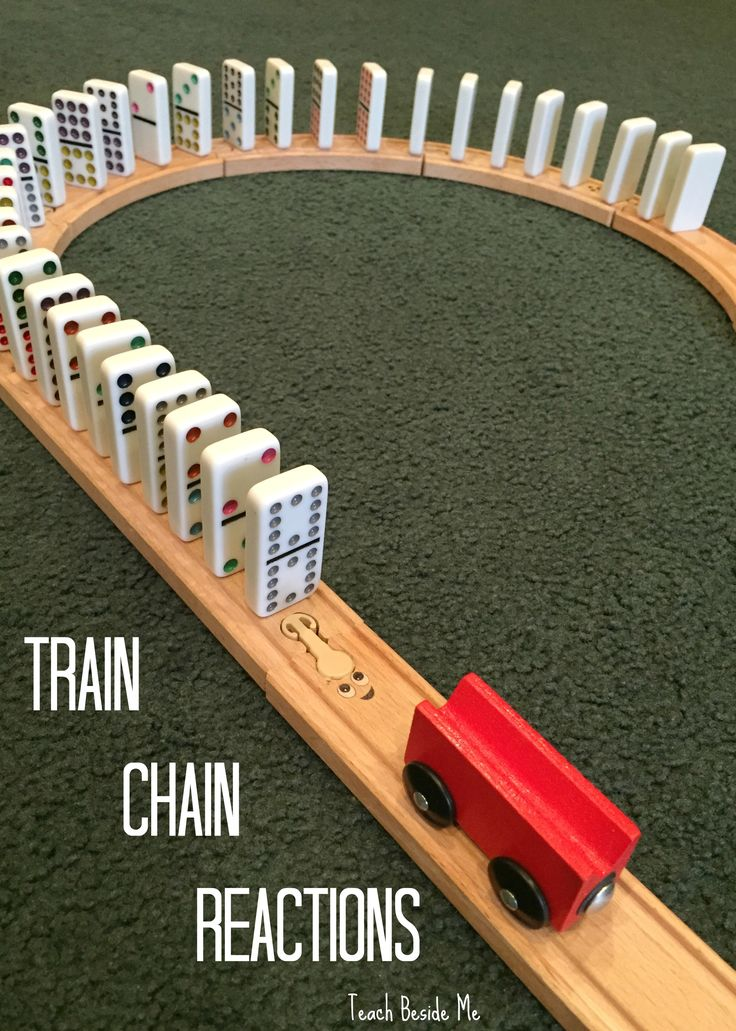 Physics play- Train Chain Reactions with Dominoes! STEM for kids!  via @karyntripp