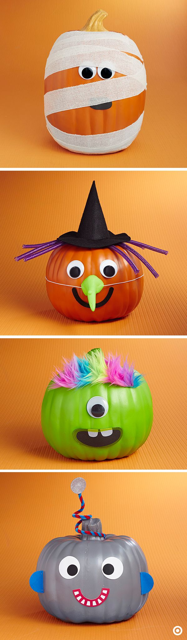 It's an all-out costume party for these quirky pumpkins! For a new twist on traditional jack-o-lanterns, use a DIY decorating kit to easily turn them into just about any Halloween character, like a mummy, witch, monster or robot. And, the best part is, no carving required!